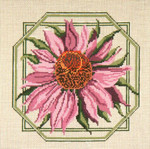 "217 Pink Coneflower 13 Mesh - 10"" Square Needle Crossings"