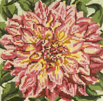 """219 Pink-tipped Dahlia 18 Mesh - 5"""" Square Needle Crossings"""