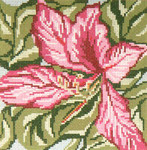 "221 Pink Tree Orchid 18 Mesh - 5"" Square Needle Crossings"