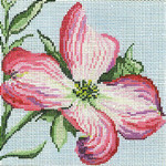 "223 Pink Dogwood 18 Mesh - 5"" Square  Needle Crossings"
