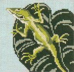 "771 Anole on Leaf 18 Mesh - 4"" x 4""  Needle Crossings"