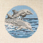 "#354  Dolphins Ornament 18 Mesh - 3"" Round Needle Crossingsn"