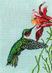 "1614 Ruby Throated Hummingbird 18 Mesh - 5"" x 7"" Needle Crossings"