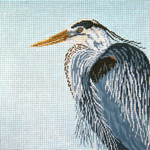 """2601 Great Blue Heron-Pillow Square 13 Mesh - 12"""" Square Needle Crossings"""