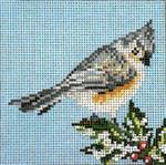 "1759 Tufted Titmouse  Ornament  18 Mesh - 3-1/2"" Square Needle Crossings"