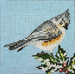 """1759-SP Tufted Titmous Ornament  18 Mesh - 4"""" Round Needle Crossings"""