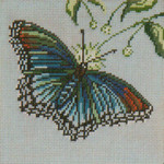 """1504 Red Spotted Purple 18 Mesh - 5"""" Square Needle Crossings"""