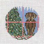 "1774-18 Chocolate Lab Ornament 3"" Round 18 Mesh Needle Crossings"