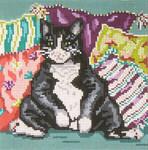"3129 Black & White Pillow Cat 18 Mesh - 5"" Square Needle Crossings"