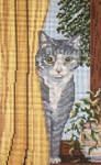 "3108 Cubby Cat behind Curtain 13 Mesh - 6"" x 10"" Needle Crossings"