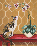 "3101 Calico Cat with Orchid 13 Mesh - 8"" x 10"" Needle Crossings"