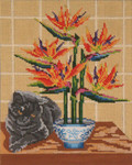 "3112 Dodie Cat with Bird of Paradise 13 Mesh - 8"" x 10"" Needle Crossings"
