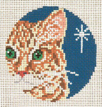 "1735-18 Orange Tabby Ornament 18 Mesh - 3"" Round (fit Lee Leather Goods) Needle Crossings"