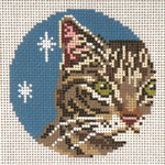 "1739 Brown Tabby Ornament 18 Mesh - 3"" Round (fit Lee Leather Goods) Needle Crossings"