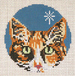 "1734-18 Calico Cat Ornament 18 Mesh - 3"" Round (fit Lee Leather Goods) Needle Crossings"