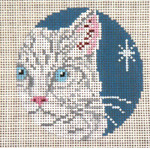 "1737-18 White Cat Ornament 18 Mesh - 3"" Round (fit Lee Leather Goods) Needle Crossings"