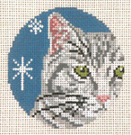 "1733-18 Gray Tabby Ornament 18 Mesh - 3"" Round (fit Lee Leather Goods) Needle Crossings"