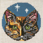 "1738-18 Tortoiseshell Cat-Glimpses Ornament18 Mesh - 3"" Round (fit Lee Leather Goods) Needle Crossings"