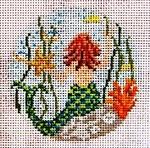 """344  Mermaid Ornament 18 Mesh - 3"""" Round Needle Crossings"""