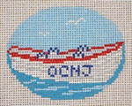 "336  Lifeboat Ornament 13 Mesh - 4"" x 3""  (personalized or blank) Needle Crossings"