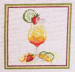 "1912  Tequila Cocktail 4"" Square on 18 Mesh Needle Crossings"