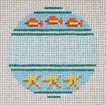 """#334  Fish & Starfish Ornament 13 Mesh - 3"""" Round (can be personalized) Needle Crossings"""