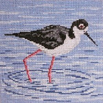 "1641 Black-Necked Stilt 18 Mesh - 5"" Square Needle Crossings"