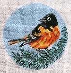 "1861-SP  Baltimore Oriole Ornament 18 Mesh - 4"" Round Needle Crossings"