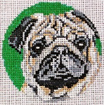 "906 Pug Ornament 18 Mesh - 3"" Round Needle Crossings"