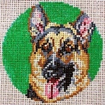 "905 German Shepherd Ornament 18 Mesh - 3"" Round Needle Crossings"