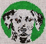 "908 Dalmatian Ornament 18 Mesh - 3"" Round Needle Crossings"