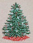 "1786  Candy Cane Tree Ornament 18 Mesh - 3-1/4"" x 4-1/2""  Needle Crossings"