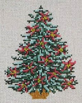"1785 Poinsettia Tree Ornament 18 Mesh - 3-1/4"" x 4-1/2""  Needle Crossings"