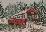 "1001-13 Barronvale Covered Bridge (PA) WINTER 13 Mesh - 9-1/2"" x 7""  Needle Crossings"