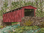 "1003-13 Thomas Mill Covered Bridge (PA) SPRING 13 Mesh - 9-1/2"" x 7""  Needle Crossings"