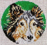 "907-13 Miniature Collie Ornament 13 Mesh - 4"" Round  Needle Crossings"
