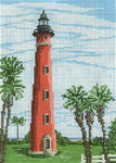 "1210 Ponce de Leon Inlet Lt(FL) 18 Mesh - 5"" x 7"" Needle Crossings"