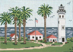 "127-13  Pt. Vincent Lighthouse (CA) 13 Mesh - 9-1/2"" x 7"" Needle Crossings"