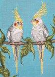 "1627-13 Bird Boys-Cockatiels 13 Mesh - 7"" x 9-1/2""  Needle Crossings"
