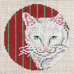 "1729 White Cat Ornament - Red & Green Stripes 13 Mesh - 4"" Round  Needle Crossings"
