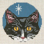 "1736-13 Black & White Cat Orn. 13 Mesh - 4"" Round Needle Crossings"