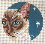 "1740-13 Siamese Cat Ornament 13 Mesh - 4"" Round and Needle Crossings"