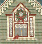 "1746 Window with Cardinal Ornament 13 Mesh  4"" Square Needle Crossings"