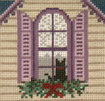 "1747 Cat in the Window  Ornament 13 Mesh  4"" Square Needle Crossings"