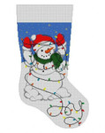 "C0104 Snowman, Tangled In Lights, stocking #13 Mesh 19"" h Susan Roberts Needlepoint"