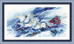 "RL100046 Riolis Cross Stitch Kit Magical Sleigh Ride 22"" x 12""; White Aida-Star; 14ct"