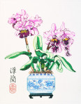 WH1168SKU Lee's Needle Arts  Orchid/ Cattleya Hand-painted canvas - 16 Mesh 14X18