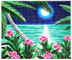 WH1243SKU Lee's Needle Arts Moonlit Flowers Hand-painted canvas - 18 Mesh 10X8.5