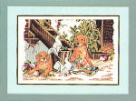 "7714128 Eva Rosenstand Kit Puppies With Doves 6"" x 12""; Linen; 25ct"