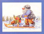 "7714197 Eva Rosenstand Kit Gnome On Sled 14"" x 11""; Linen; 25ct"